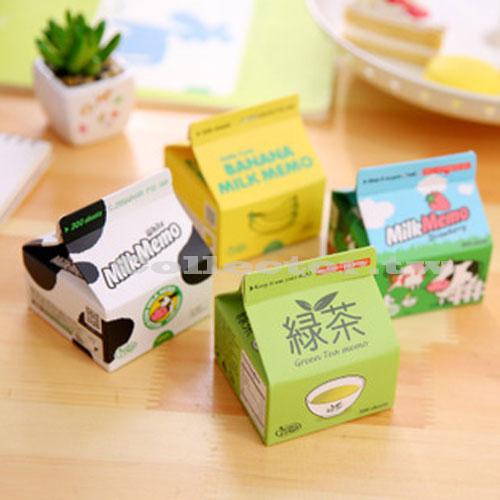 【L16062803】韓國超萌牛奶盒抽取便條紙 創意備忘錄 便條紙留言紙