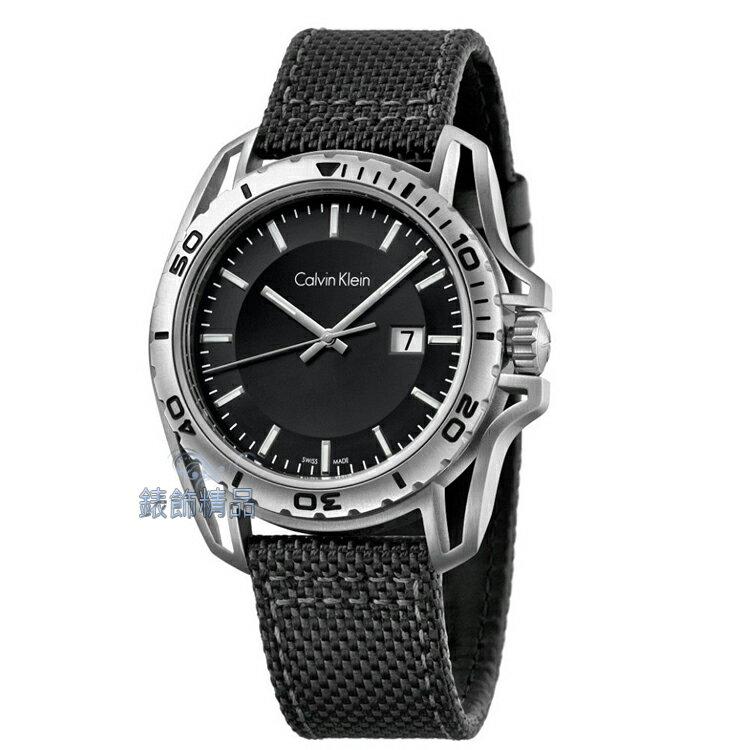 【錶飾精品】CK錶 紳士運動款 日期 黑面銀框 黑帆布皮帶男錶 K5Y31TB1 全新原廠正品 生日情人禮物