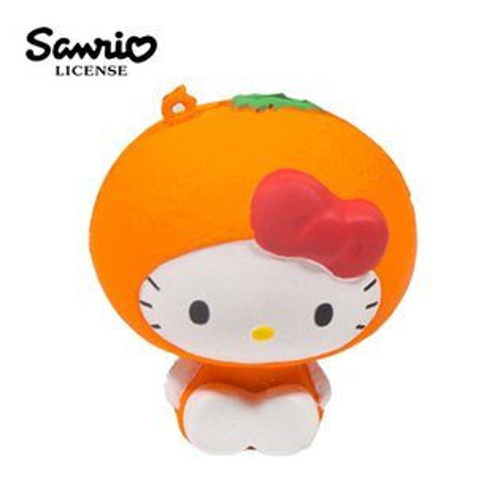 橘子款【日本進口】HelloKitty凱蒂貓水果造型捏捏吊飾吊飾捏捏樂軟軟三麗鷗Sanrio-614575
