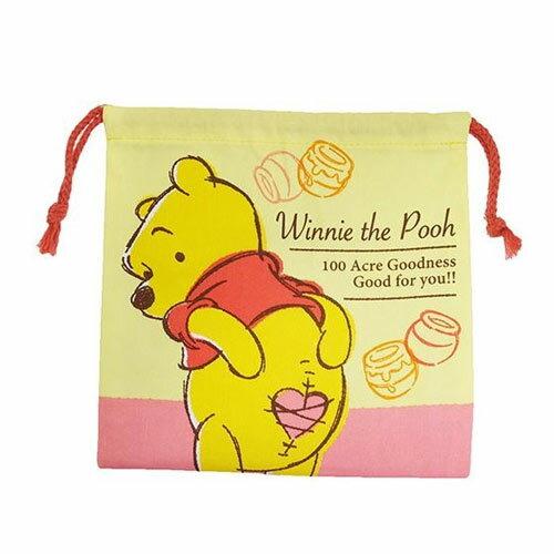 【日本進口正版】小熊維尼 束口袋 收納袋 抽繩束口袋 迪士尼 Disney - 047161