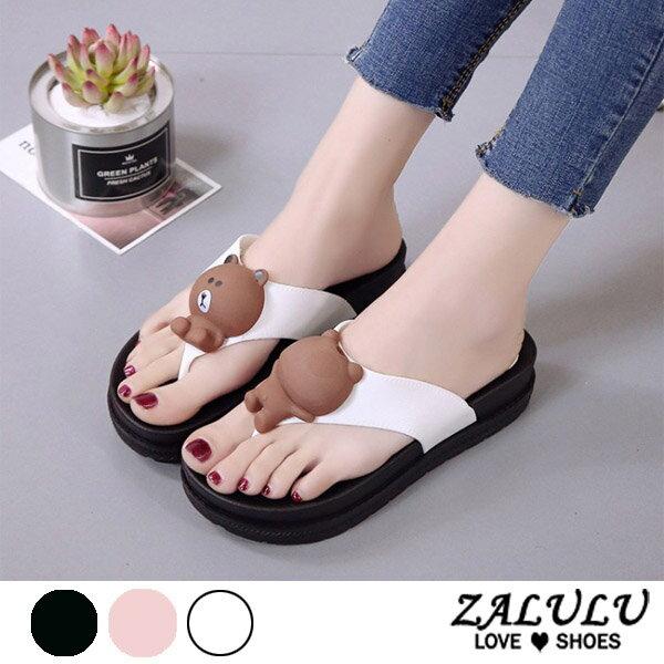 ZALULU愛鞋館7DE015預購卡哇依熊熊夾腳休閒拖鞋-白粉黑-36-40