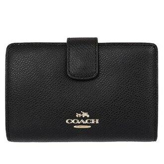 【蟹老闆】COACH 國際精品 經典皮革 立體標logo 多卡中夾/小錢包 含零錢袋 黑 F53436