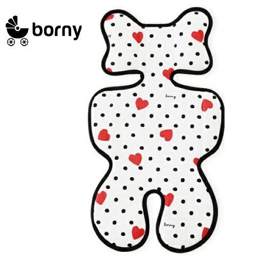 【限量送NUK嬰兒洗衣精60ml】韓國【 Borny 】3D 立體推車涼墊(推車、汽座適用) (白底愛心) - 限時優惠好康折扣