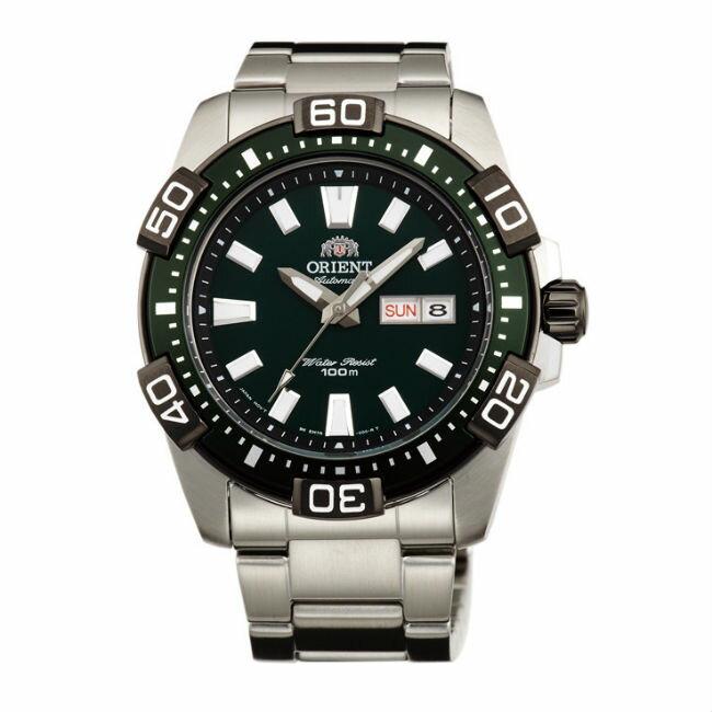 ORIENT 東方錶 WATER RESISTANT 100m系列 (FEM7R001F) Marine運動機械錶 鋼帶款 黑色 45.5mm