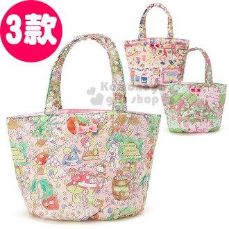〔小禮堂〕Sanrio大集合 手提空氣包《小.3款選1.菱格縫線》Sanrio55週年紀念系列第二彈