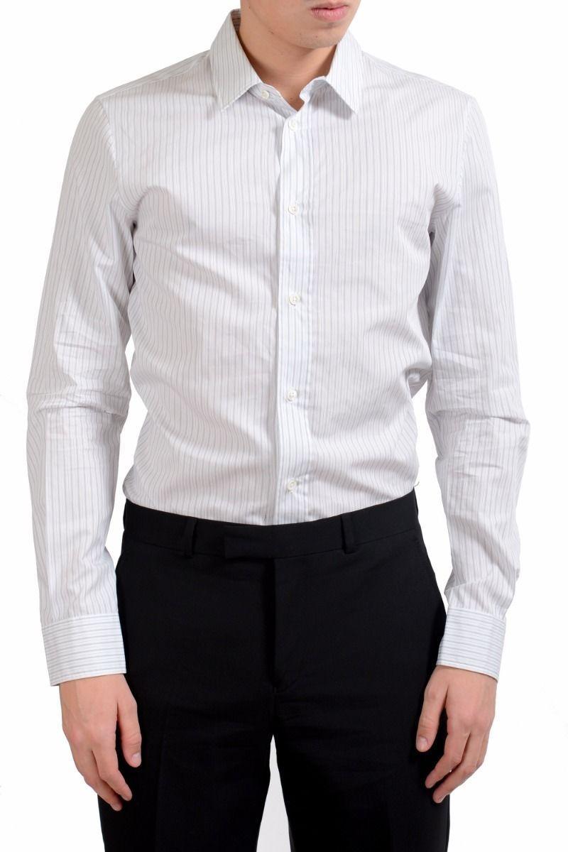 7a7546141c Maison Margiela 14 Men's Slim Striped Long Sleeve Casual Shirt US S IT ...