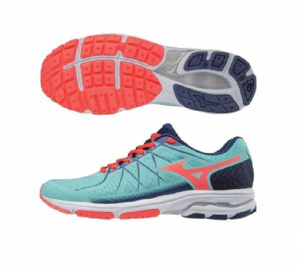 美津濃MIZUNO女跑鞋WAVEUNITUS4(藍綠橘)一般楦雲波浪款路跑鞋J1GD182155【胖媛的店】