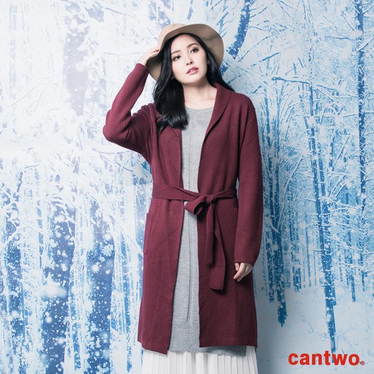 cantwo素色絲瓜領針織睡袍外套(共三色) 0