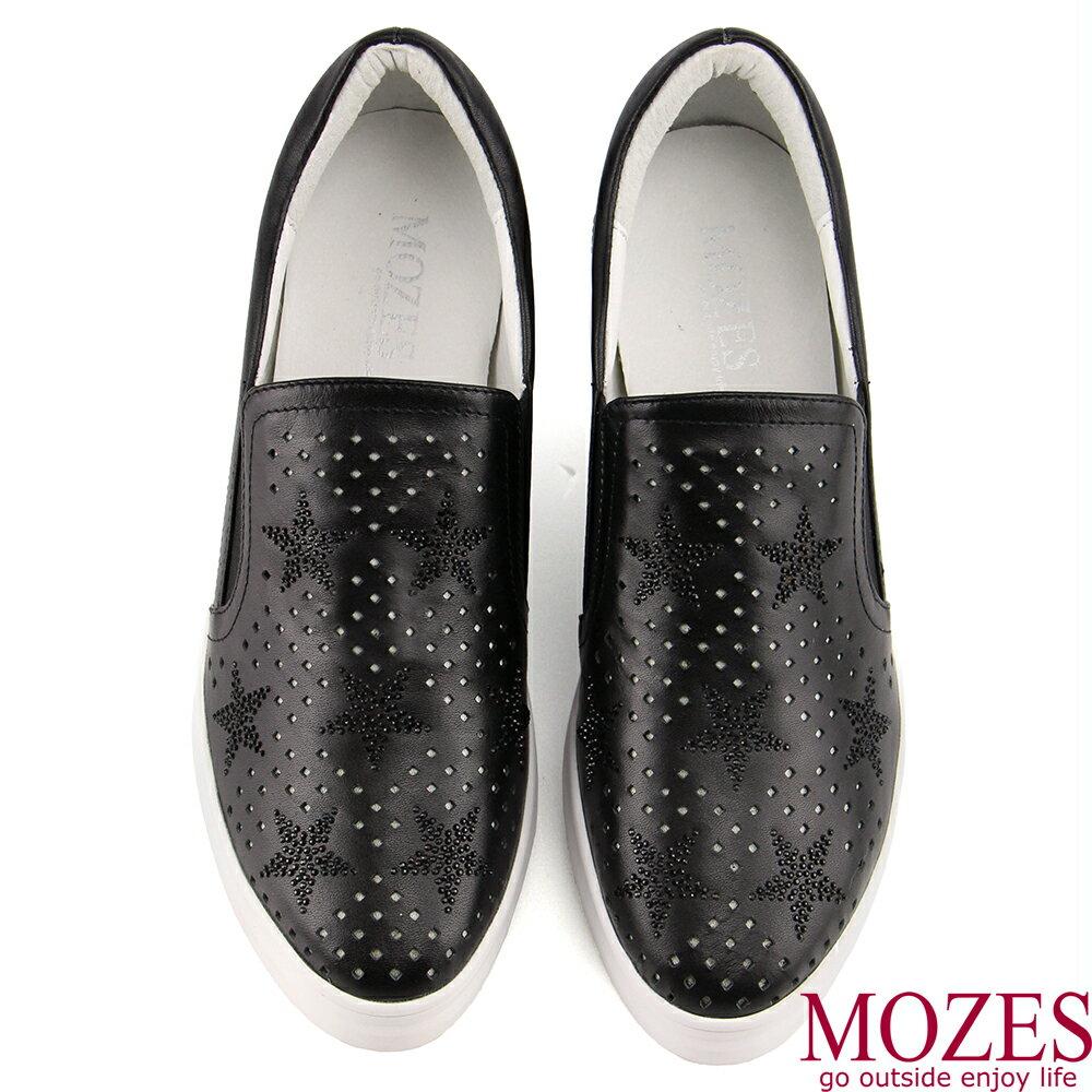 【MOZES】正韓空運-水鑽壓紋真皮內增高休閒鞋 2