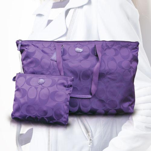寶貝窩 【CF77316】COACH C Logo尼龍輕量大容量肩背子母包-紫色下標區