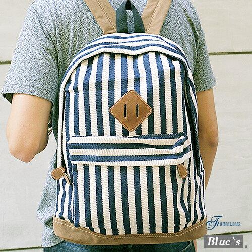 寶貝窩 Blue^`s~JI60302~夏日街頭百搭直條紋海洋水手風豬鼻子後背包 ~  好