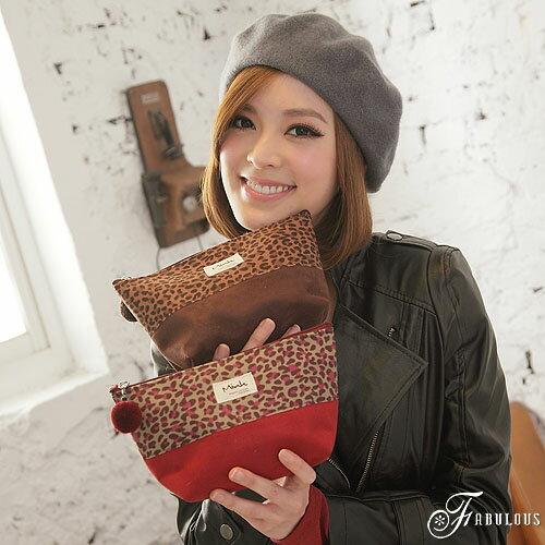 寶貝窩  Vogue 【KL1064】韓國直送Mink系列輕熟甜美系迷你豹紋撞色暖暖棉布化妝包