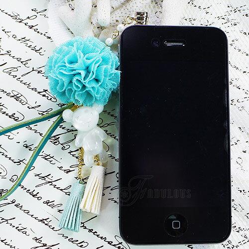 寶貝窩 Aegean【KL01009】韓國果凍系暴力熊粉嫩色系球球耳機塞手機吊飾 iphone 三星 HTC 3.5mm耳機防塵塞