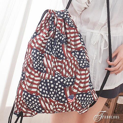 寶貝窩 Graceful【OA0603】二代街頭潮流感繽紛創意拚布感國旗抽繩束口後背包