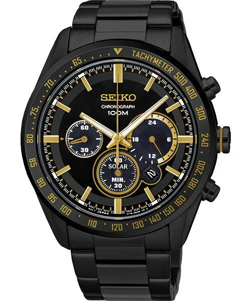 Seiko Spirit V175-0DL0K(SSC473P1)狂飆風暴太陽能計時腕錶/黑面42mm