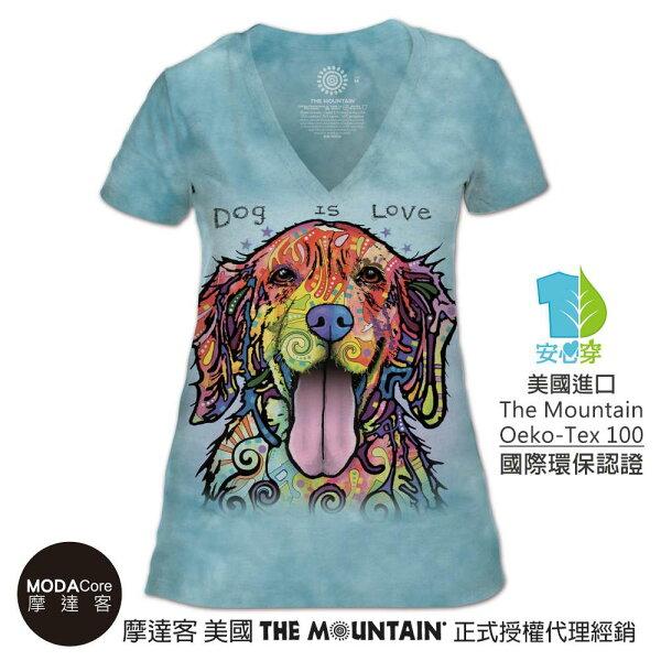 【摩達客】(預購)美國TheMountain都會系列彩繪開心黃金獵犬V領女版短T