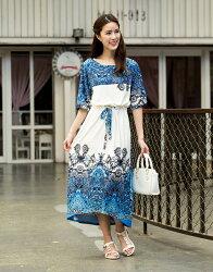 【JL JOCELIN】寬鬆剪裁長版印花洋裝