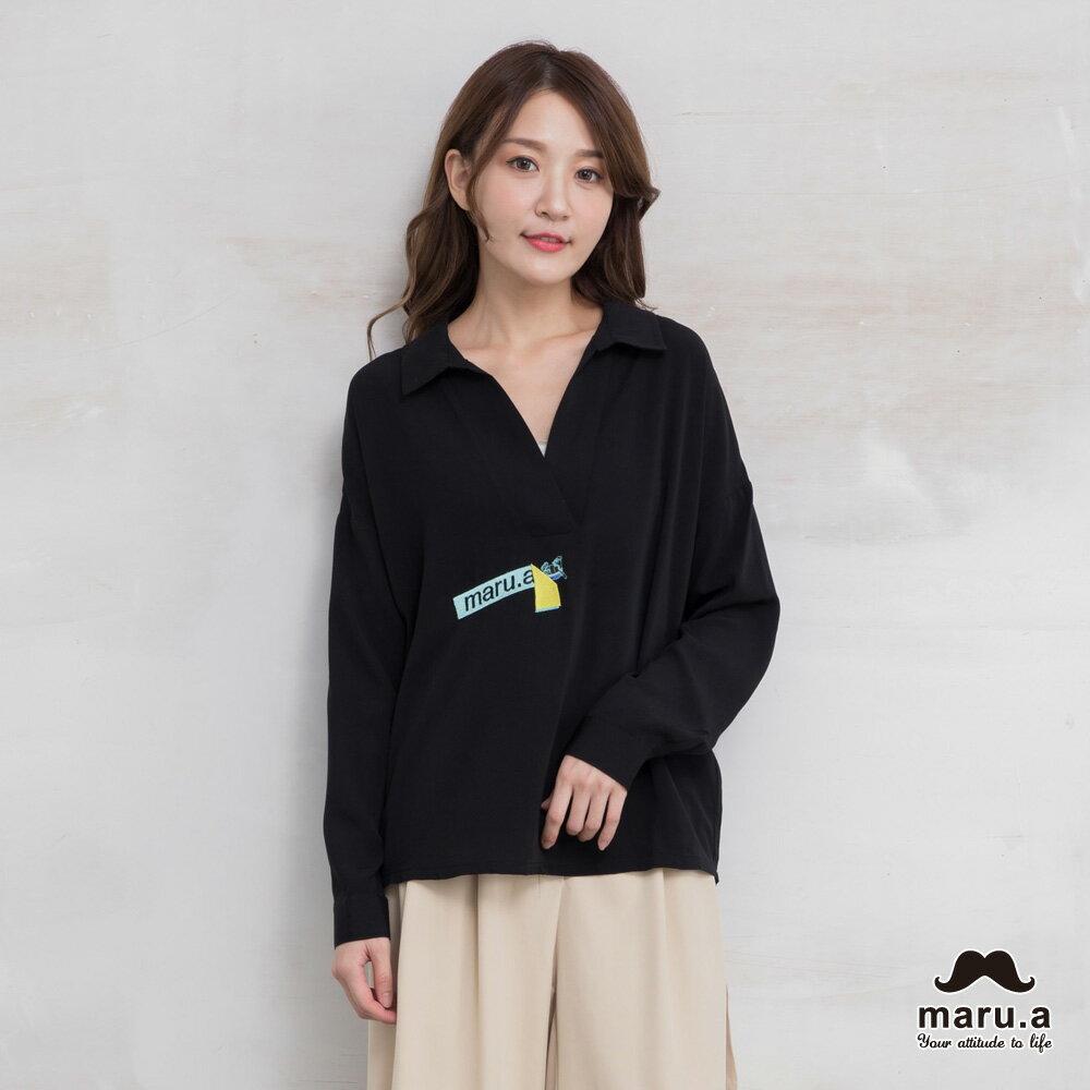 【maru.a】烏龜躲貓貓刺繡低領襯衫(2色)7923114 3