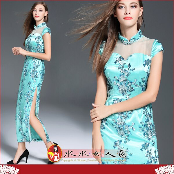 【水水女人國】~另人驚豔。藝術極品中國風~藍悅。超高檔重工訂閃光珠片繡貴氣逼人包袖長旗袍禮服