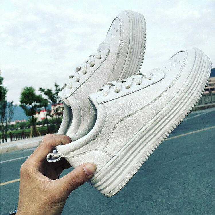 韓國小白鞋透氣百搭平底女鞋休閑綁帶韓版國民平底便鞋板鞋厚底增高運動鞋