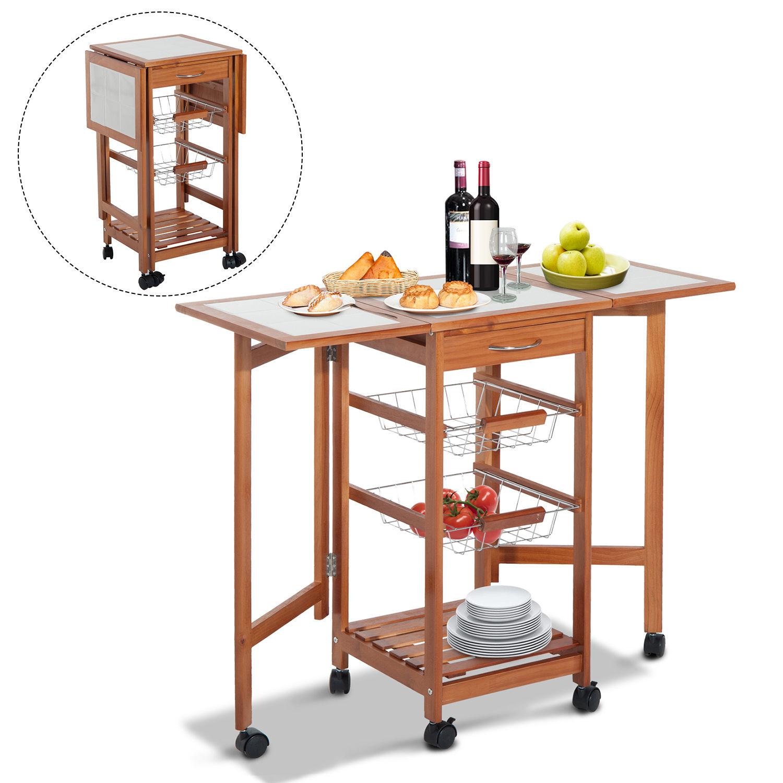 Homcom Rolling Tile Top Wooden Drop Leaf Kitchen Trolley Storage Cart 0