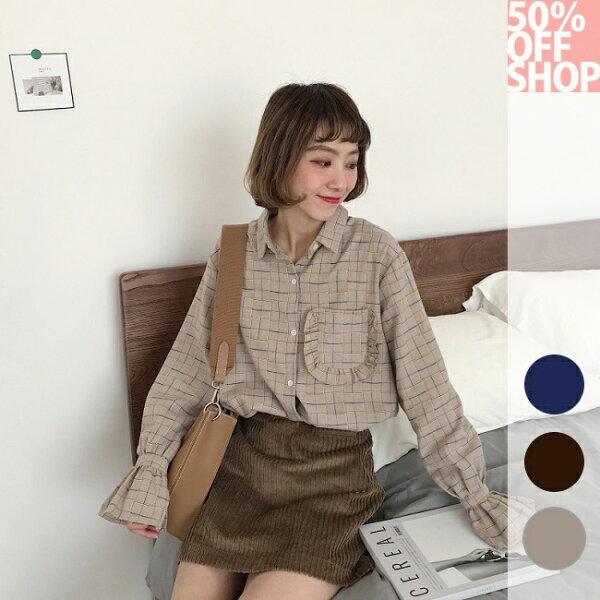 50%OFFSHOP韓版寬鬆顯瘦荷葉邊口袋格子襯衫潮(3色)【G035498C】