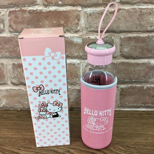 【真愛日本】15092300005 晶透耐熱玻璃瓶附套-粉 三麗鷗 Hello Kitty 凱蒂貓 正品 水瓶 居家