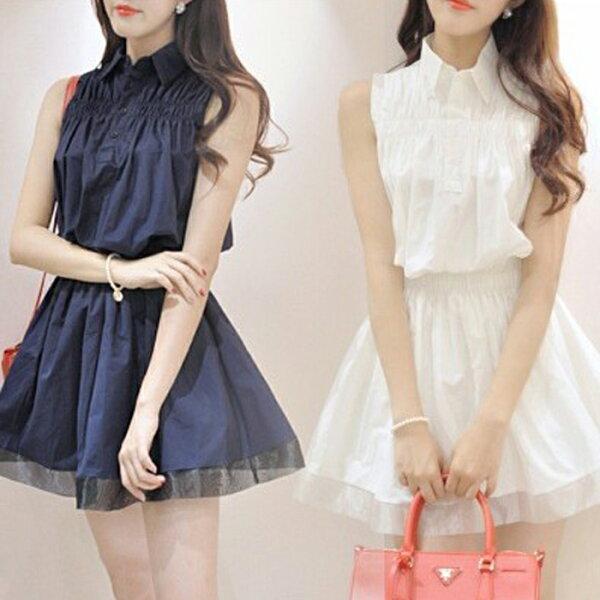 糖衣子輕鬆購【HY1651】韓版時尚襯衫領收腰氣質雪紡背心蓬蓬裙