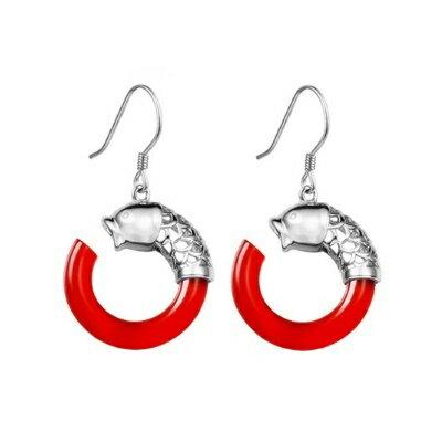 925純銀耳環鑲鑽耳飾~古典清新雙魚之戀生日情人節 女飾品73ia51~ ~~米蘭 ~