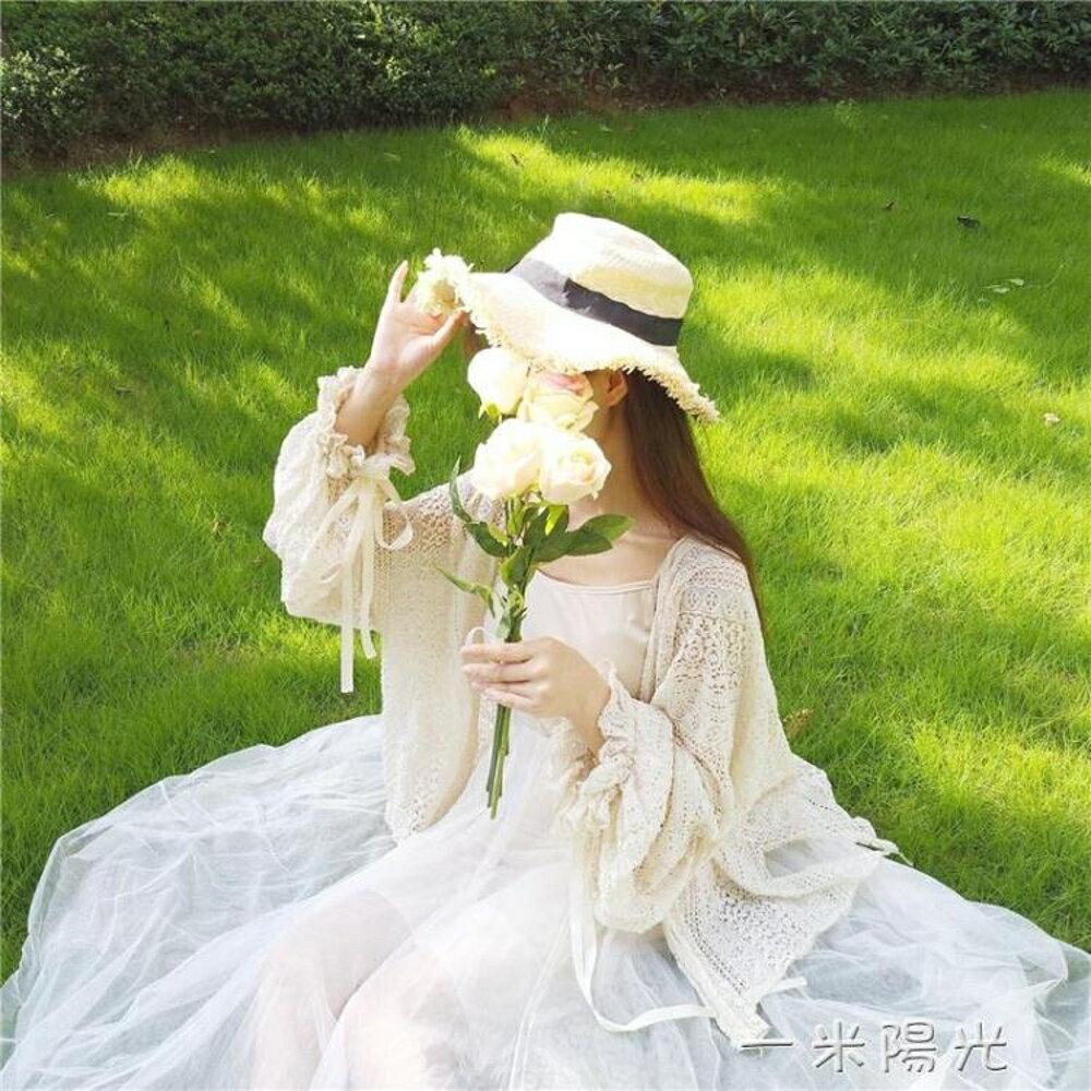 【免運】春裝新款韓版可愛少女蕾絲寬鬆燈籠袖長袖中長款防曬開衫外套 一米陽光  喜迎新春 全館8.5折起
