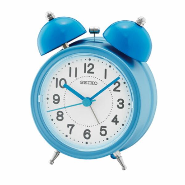 Seiko 精工鐘 (QHK035L) 貪睡功能響鈴式圓形鬧鐘(藍)/11.1*8.4*5.2 cm