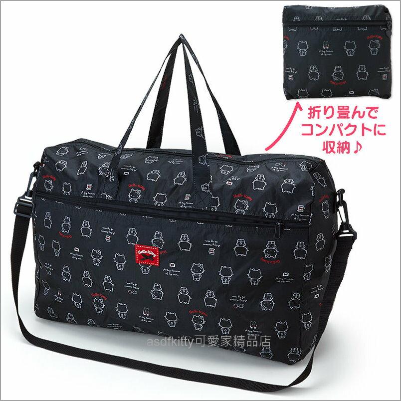 asdfkitty可愛家☆KITTY黑色多人版行李箱拉桿手提袋/斜背包-可收納購物袋/波士頓包-日本正版商品