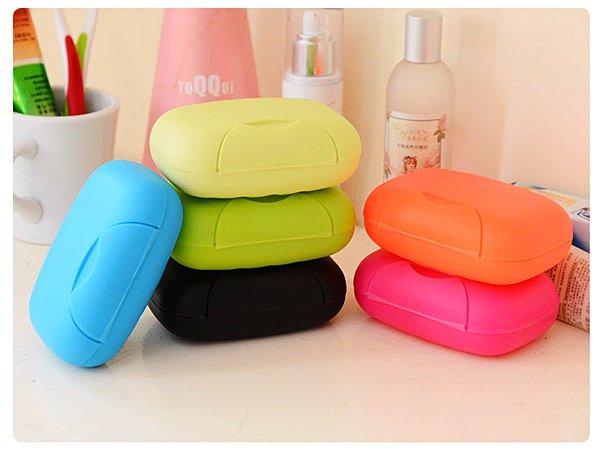 BO雜貨【SV6125】韓系 糖果色帶扣鎖便攜旅行皂盒 創意家居旅行便攜香皂盒有蓋肥皂盒 大
