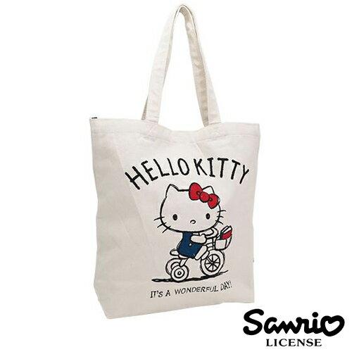 三輪車款【日本正版】Hello Kitty 凱蒂貓 帆布 托特包 肩揹包 帆布包 三麗鷗 Sanrio - 419875