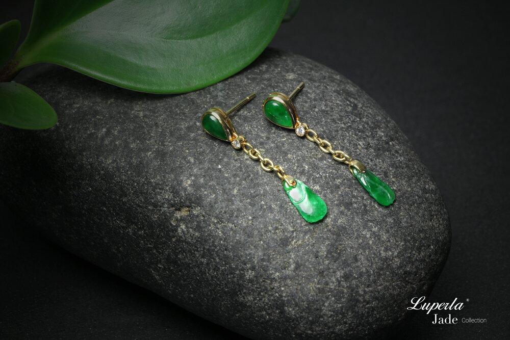 大東山珠寶 迷人律動 天然緬甸老坑玻璃種A貨翡翠 頂級真鑽14K金耳環 1