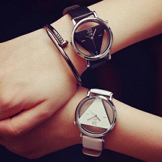 創美[W001] 韓流 韓版 時尚 簡約 鏤空 三角 造型 情侶 手錶 情侶錶 對錶 男錶 女錶 中性錶 潮流