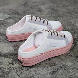 半拖鞋 無後跟懶人鞋女2020夏季新款韓版ulzzang帆布鞋平底小白鞋半拖鞋 清涼一夏钜惠