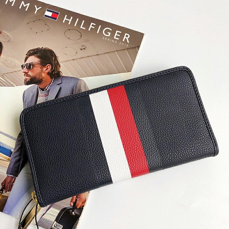 美國百分百【全新真品】Tommy Hilfiger 皮夾 證件夾 TH 長夾 錢包 卡夾 票夾 女用 深藍 AP07