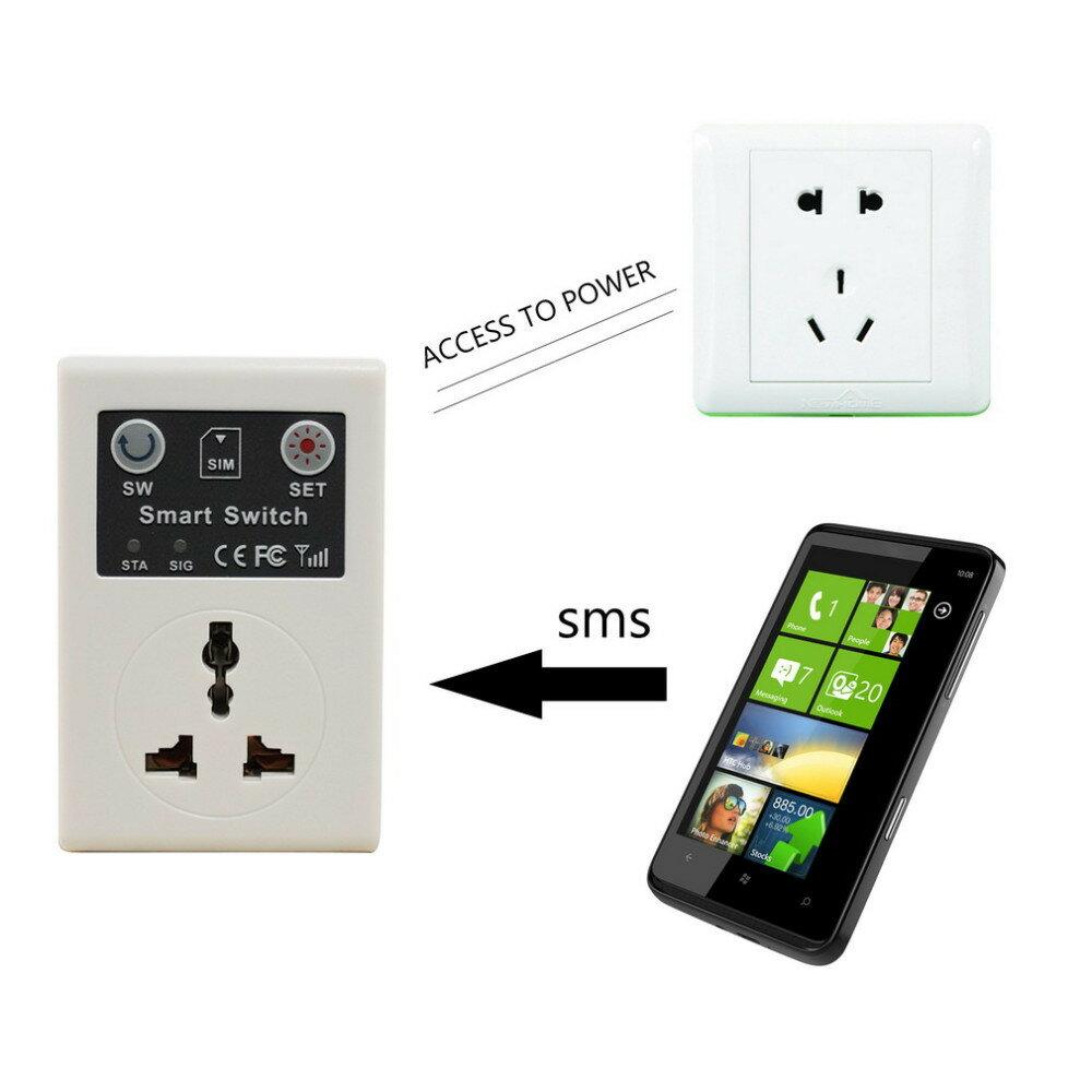 『220v無線遙控智慧開關』電話遙控、GSM插座、電源插頭