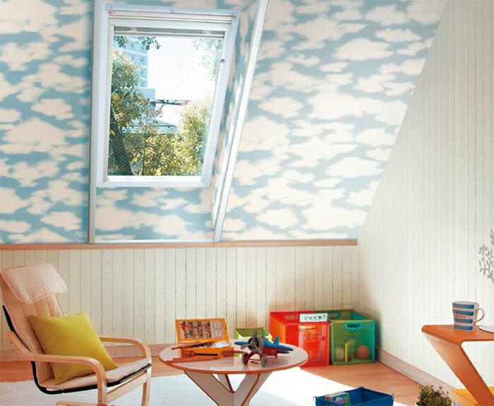 B141-96-44  (1色)  日本壁紙 藍天白雲 可愛兒童房 遊戲室