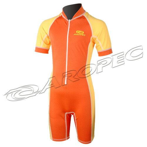 【【蘋果戶外】】AROPECDS-L11-1C-Lycra(橘黃)兒童短袖短褲連身水母衣百分百台灣製品質保證