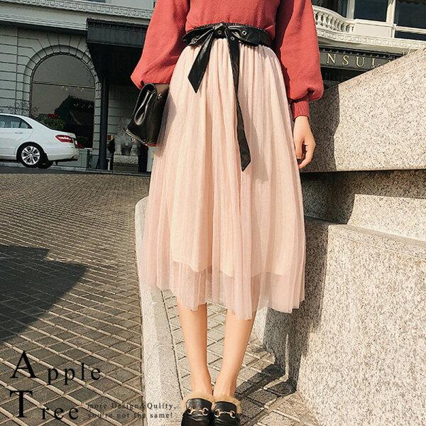 蘋果樹AppleTree:AT日韓-韓國,仿皮質感腰頭網紗蓬裙【712047】