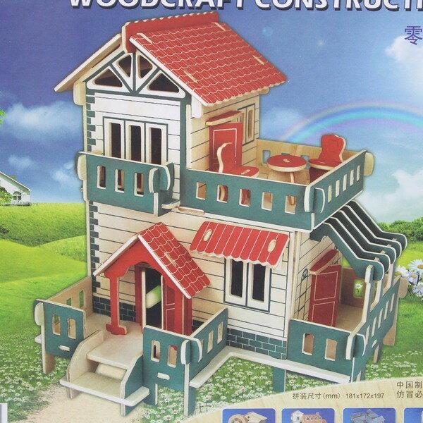 DIY木質拼圖 3D立體拼圖 立體模型屋(G-PH104農村小洋樓)/一組入{定149}大3片入 四聯木質拼圖