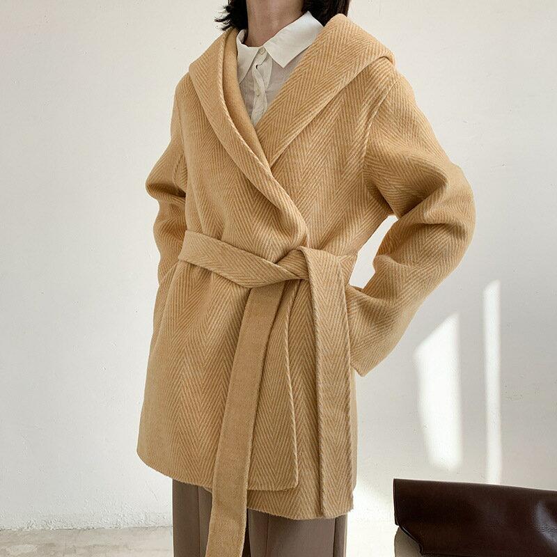 毛呢大衣羊毛外套-短版繫帶寬鬆連帽女外套4色73wb24【獨家進口】【米蘭精品】 1