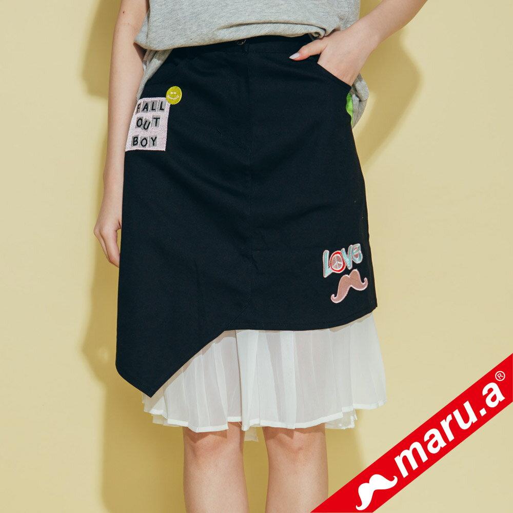 【maru.a】繡花貼布特色拼及膝裙 8316212 0