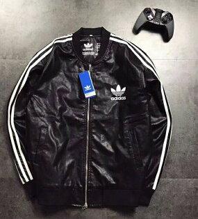 Adidas三葉草皮外套黑色