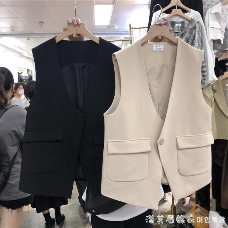 2021秋款上新韓版chicV領一粒扣寬松休閒無袖背心顯瘦西裝馬夾女 凡卡時尚