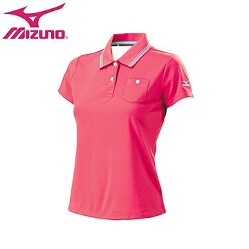 32TA671865(桃紅)DryScience吸汗快乾、抗紫外線材質女短袖POLO衫 【美津濃MIZUNO】