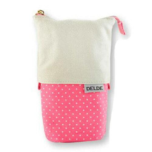 粉色款~ ~DELDE 點點系列 滑動筆袋 鉛筆盒 收納包 筆筒 兩段式伸縮 sun~st
