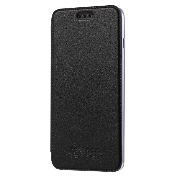 Outlet特價品出清AppleiPhone7iPhone8共用透明電鍍邊框側掀美背皮套手機殼保護套經典黑專區2$79